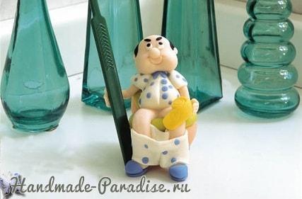 Мужик на унитазе. Лепка сувенира для ванной комнаты (1)