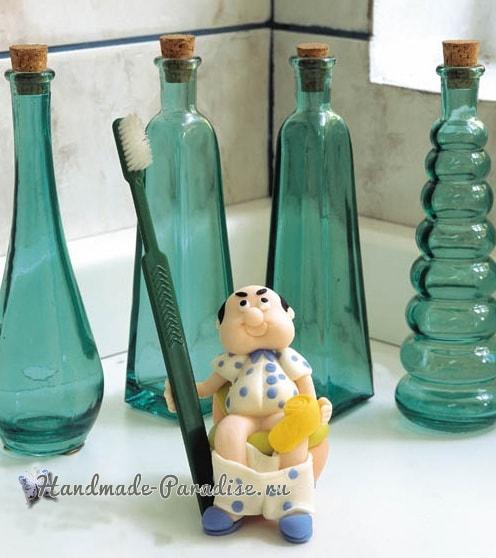 Мужик на унитазе. Лепка сувенира для ванной комнаты (2)