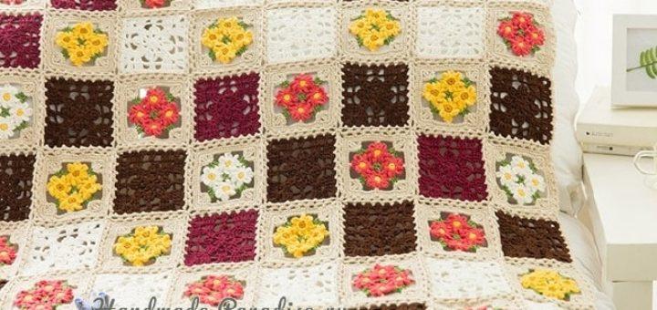 Плед крючком мотивами с полевыми цветами (1)