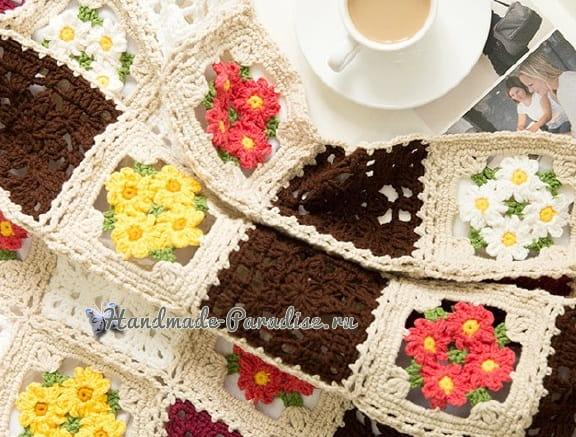 Плед крючком мотивами с полевыми цветами (8)