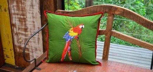 Попугай на подушке. Вышивка гладью (1)