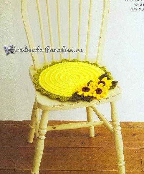 Сидушки для стула, с подсолнухами, маками и герберами (1)