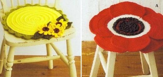 Сидушки для стула, с подсолнухами, маками и герберами (2)