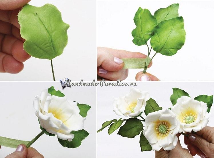 Цветы шиповника для украшения торта (8)