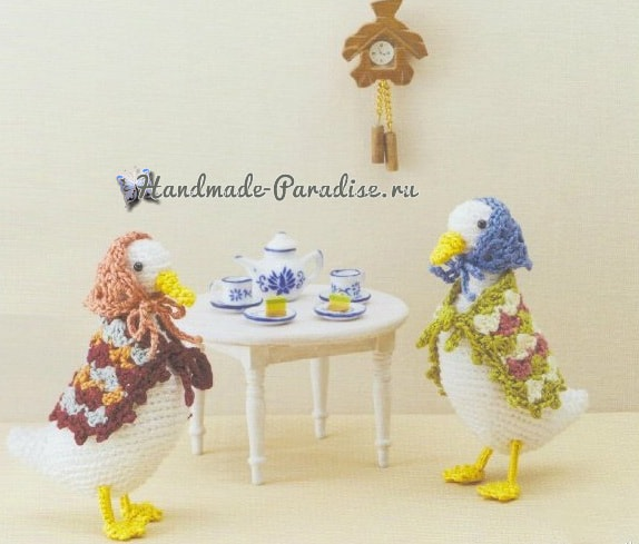Уточки и попугаи амигуруми. Схемы вязания (1)