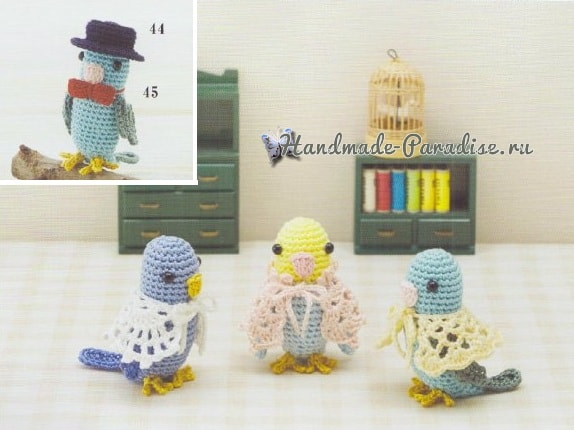 Уточки и попугаи амигуруми. Схемы вязания (3)