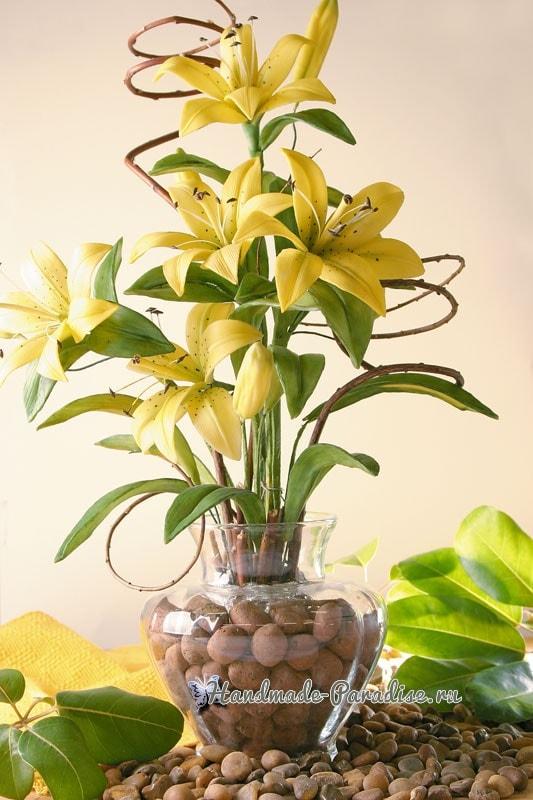 Желтые ЛИЛИИ из холодного фарфора. Мастер-класс (1)