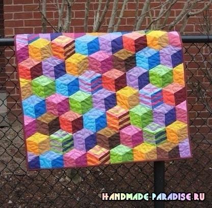 Лоскутное одеяло «Кубики» в технике пэчворк (1)