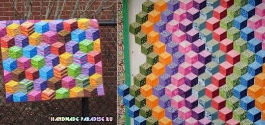 Лоскутное одеяло «Кубики» в технике пэчворк (2)