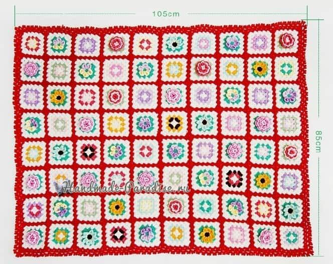 Плед бабушкиными квадратами с объемными цветами (2)