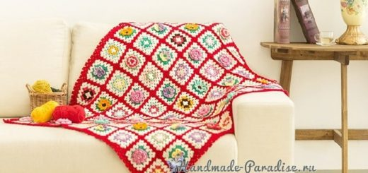 Плед бабушкиными квадратами с объемными цветами