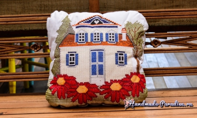 Подушка с вышивкой «Домик». Схема (2)