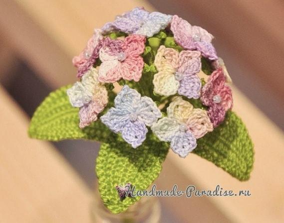 Цветы гортензии крючком. Схема (3)