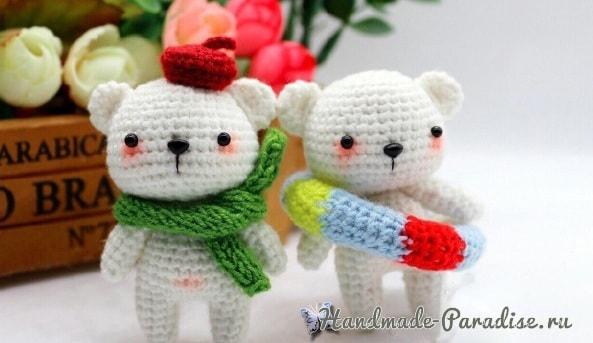 Белые медвежата амигуруми крючком (2)