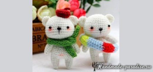 Белые медвежата амигуруми крючком (4)