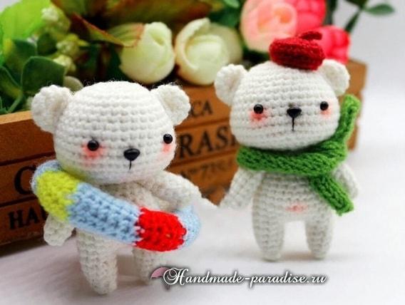 Белые медвежата амигуруми крючком (5)