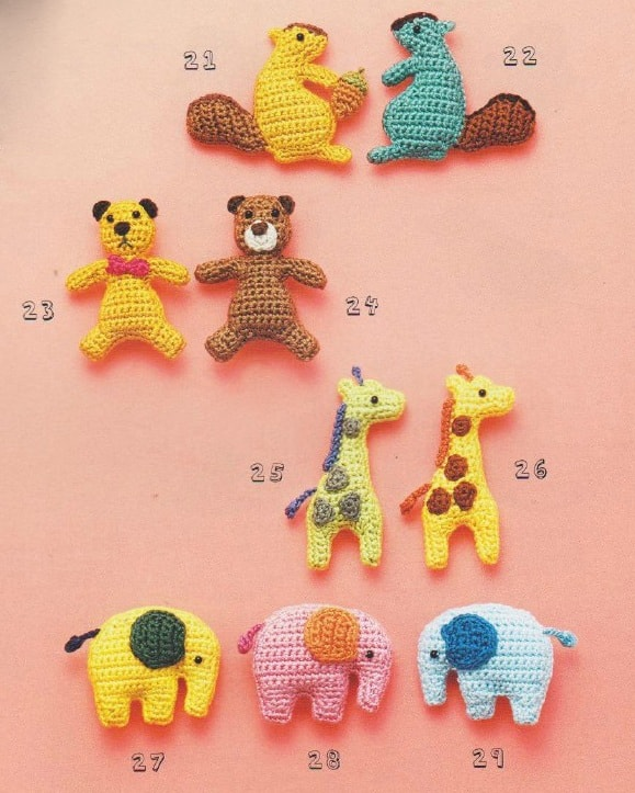 Мишка, жираф, белка и слоник амигуруми (4)