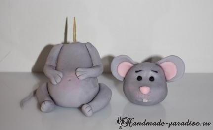 Мышка из мастики для детского торта (9)