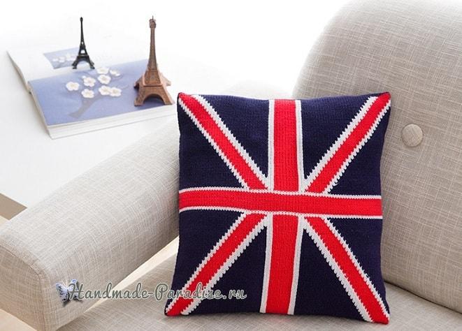 Подушка «Британский флаг» спицами (2)