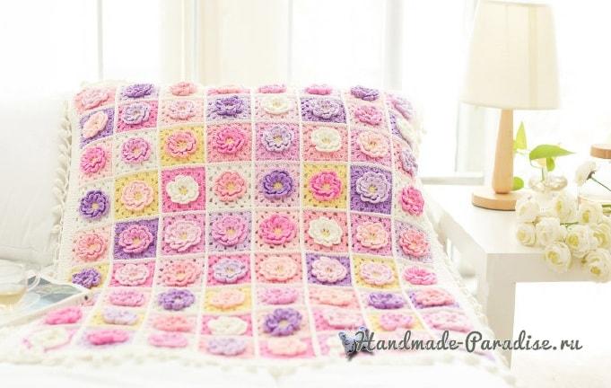 Подушка и плед крючком мотивами с объемными цветами (1)