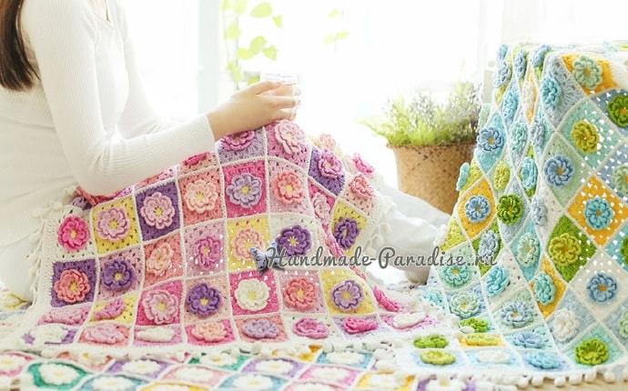 Подушка и плед крючком мотивами с объемными цветами (2)