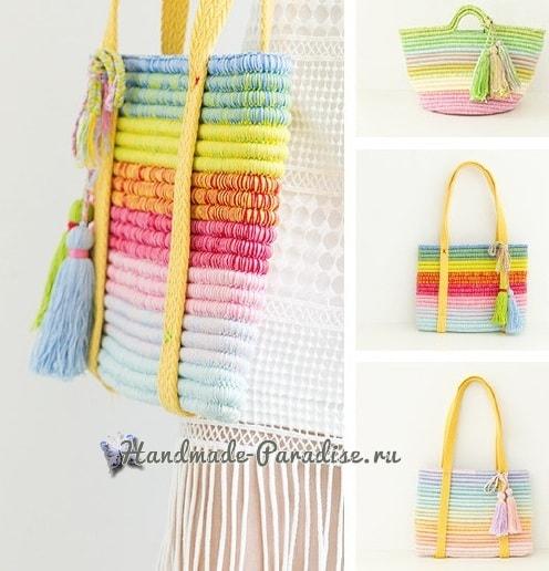 Стильная сумочка крючком из веревки (1)