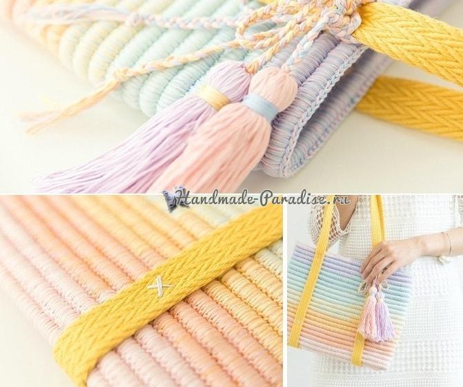 Стильная сумочка крючком из веревки (4)
