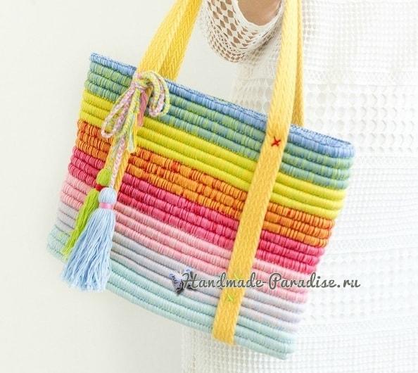 Стильная сумочка крючком из веревки (5)