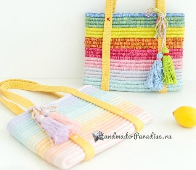 Стильная сумочка крючком из веревки (8)
