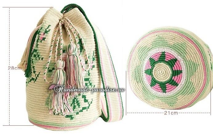 Жаккардовая сумка - колумбийская мочила с розами (1)