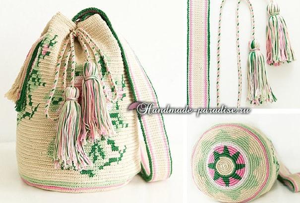 Жаккардовая сумка - колумбийская мочила с розами (2)