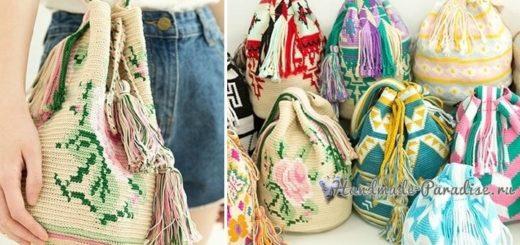 Жаккардовая сумка - колумбийская мочила с розами (4)