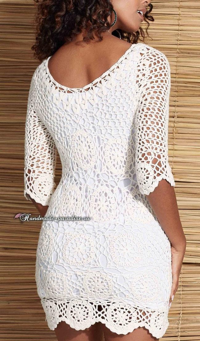 Белое платье крючком из мотивов (1)