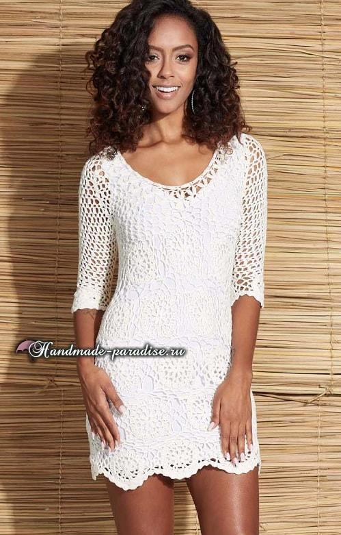 Белое платье крючком из мотивов (3)