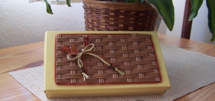 Декор коробочки плетением из гофрокартона (1)