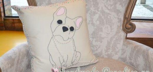 Подушка с собачкой. Вышивка (1)