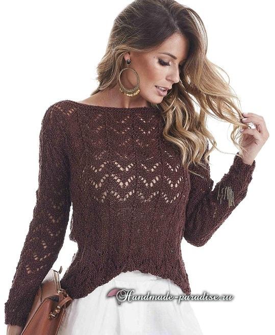 Пуловер с открытой спиной спицами (3)