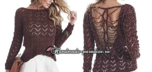 Пуловер с открытой спиной спицами (4)