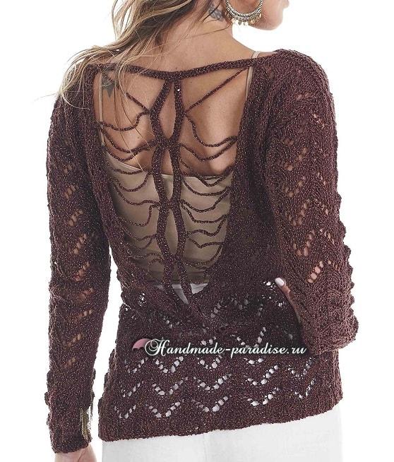 Пуловер с открытой спиной спицами (5)