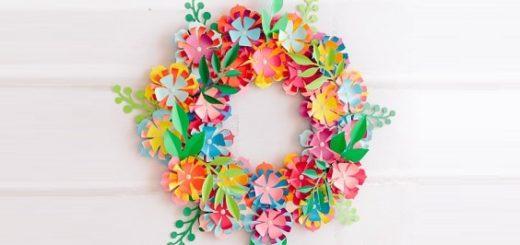Разноцветный венок из бумажных цветов (1)