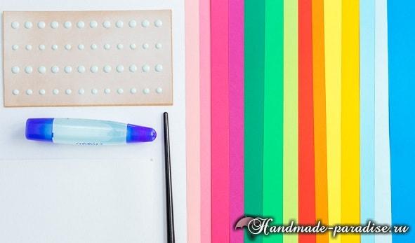 Разноцветный венок из бумажных цветов (3)