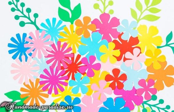 Разноцветный венок из бумажных цветов (5)