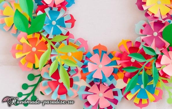 Разноцветный венок из бумажных цветов (8)