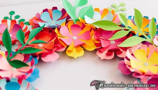 Разноцветный венок из бумажных цветов (9)