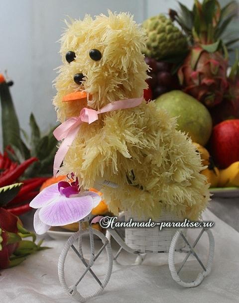 Собачка из грейпфрута для новогоднего стола (9)