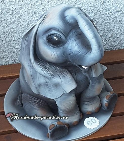 Торт «Слон» из мастики. Фото мастер-класс (3)