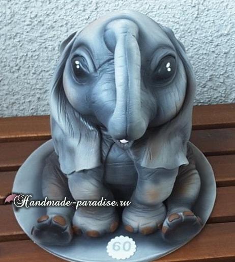 Торт «Слон» из мастики. Фото мастер-класс (4)
