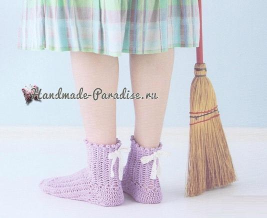Ажурные носочки крючком. Схемы (4)