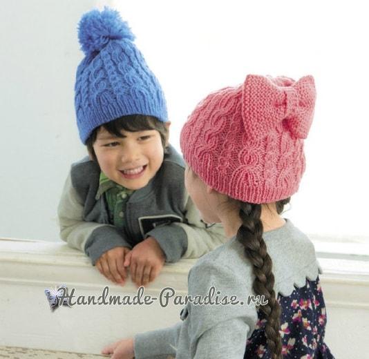 Детские теплые шапки спицами. Схемы (1)