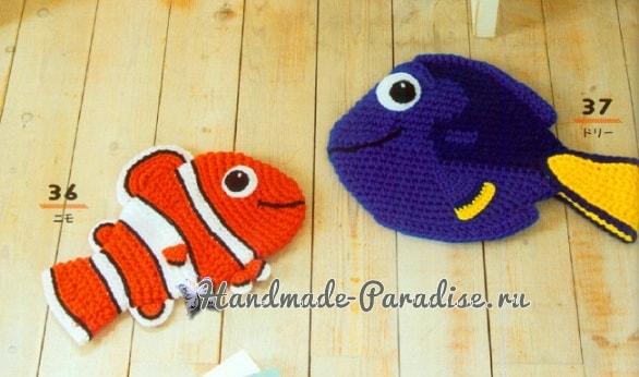 Коврики-рыбки крючком для детских игр (1)